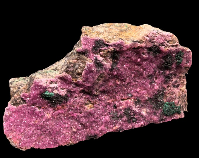 Cobble Creek: Cobaltoan Calcite with Malachite Specimen from South Africa