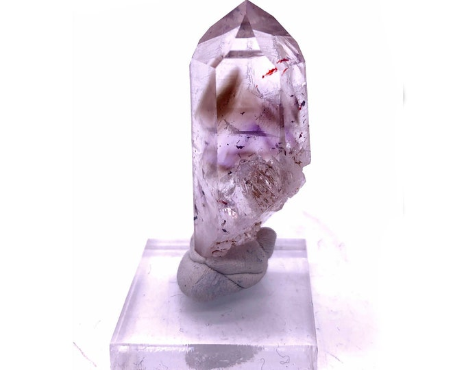 Brandberg Smoky Amethyst Quartz Point from Brandberg Mountain Range in Namibia, South Africa with Base