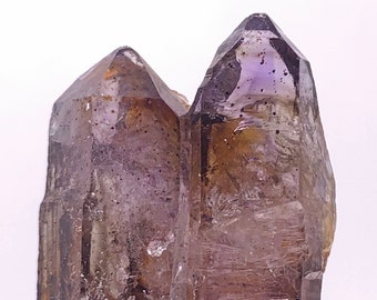 Double-Terminated with Twin Tip On One End, Smoky Amethyst Quartz Point from Zimbabwe, South Africa
