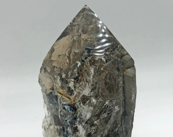 "Cobble Creek: 3.7""/ 353g / 12.5 oz Smoky Quartz with Semi-Polished Tip and Cut Base - Crazy Inclusions!"