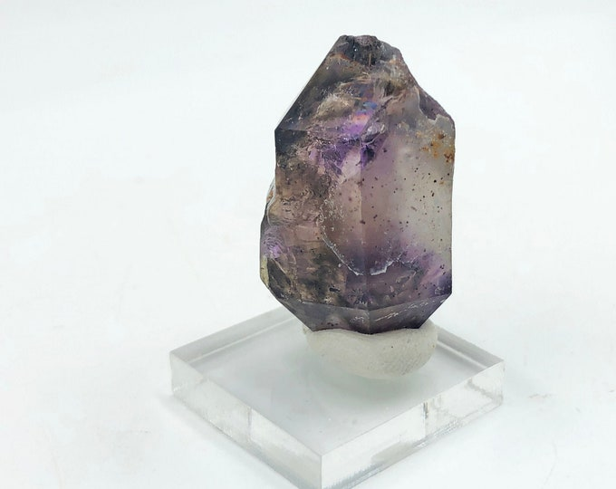 Double-Terminated Smoky Amethyst Point from Zimbabwe, Africa with base