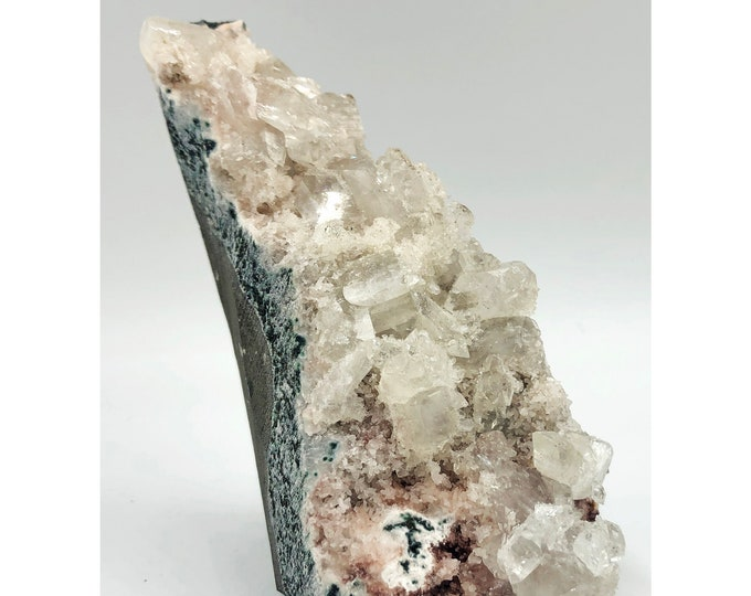 Cobble Creek: Clear Apophyllite on Self-Standing Matrix from India
