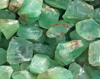 """1 LB Med Emerald Green Calcite from Durango, Mexico (1 1/2"""" - 2"""" ) -  10 pieces per pound - Great color!"""