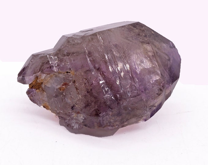 Double-Terminated Smoky Amethyst Quartz Point from Zimbabwe, Africa with Base