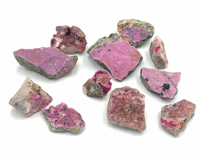 Cobble Creek: 1 LB Lot - (11 pieces) Cobaltoan Calcite Specimen some w/ Malachite Lot from DR Congo, Africa