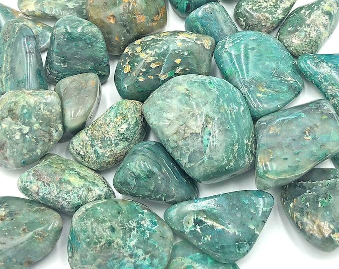 Cobble Creek: 1 LB Chrysocolla Tumbled Stones from Madagascar Bulk Grade A Tumbles