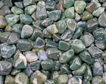 1 LB Moss Green Agate Tumbles from South Africa - Natural - Beautiful Color!