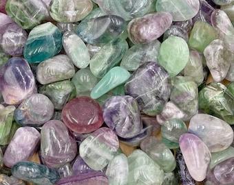 1 LB Fluorite Tumbles from China - Rainbow / Green / Purple / Blue - Beautiful Colors!