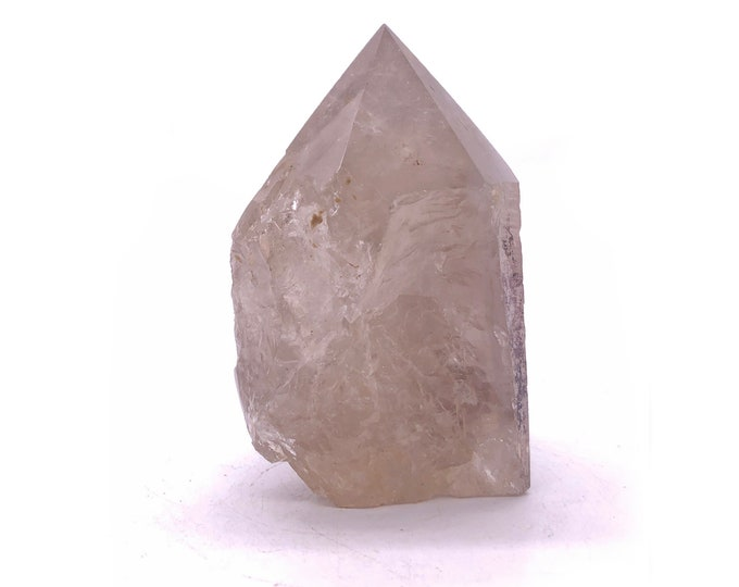 """Cobble Creek: 3.4""""/ 272 g  Smoky Quartz with Semi-Polished Tip and Cut Base from Brazil"""