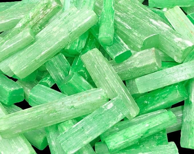 "1 LB 3"" Green Dyed Selenite \ Satin Spar Sticks from Morocco  - 15 pcs per pound!"