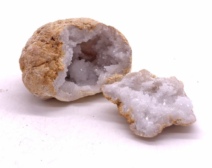 Tiny Geode Pair from Morocco with Druzy Calcite