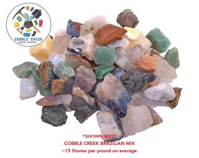 COBBLE CREEK: 1 LB Brazilian Mix (~15 stones/lb) - Quartz, Calcite, Fuchsite, Jasper, Agate and more!