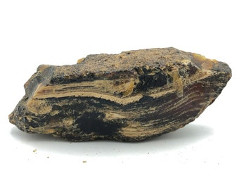 """Nice Raw Chunk of Natural Black Amber from Sumatra, Indonesia 164g - 5.8 ounces 6.0""""L x 1.3""""W x 2.0""""H"""