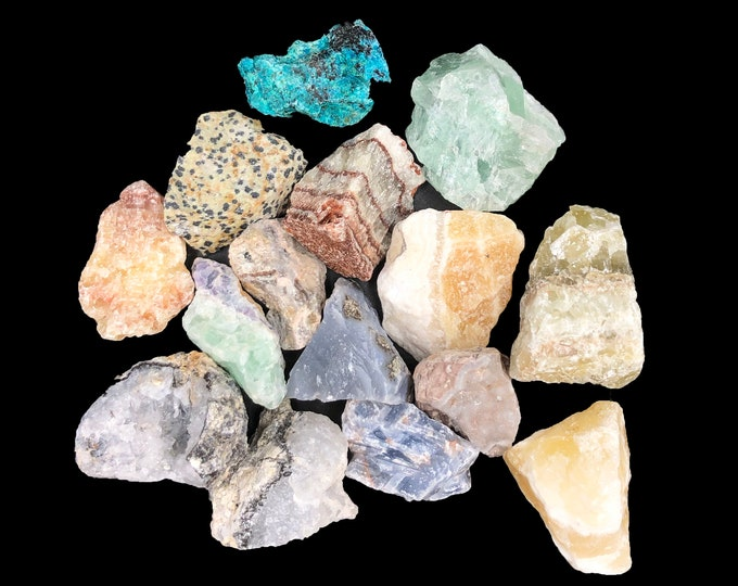 COBBLE CREEK: 1 LB Mexico Mix (~15 stones/lb) - Jaspers, Fluorite, Calcites, Geode Frags, and more! Natural - Raw - Rough