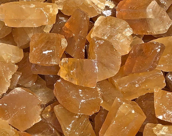 "1 LB Med Honey Calcite from Durango, Mexico (1 1/2"" - 2"") -  7 pieces per pound - Great color!"