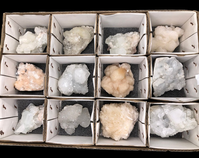 12 Count Zeolite Flat from India - Apophyllite, Stillbite, Calcite