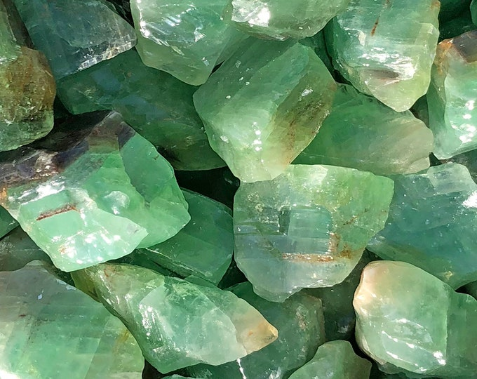 "1 LB Lg Emerald Green Calcite from Durango, Mexico (2 - 2 1/2"" ) -  5 pieces per pound - Great color!"
