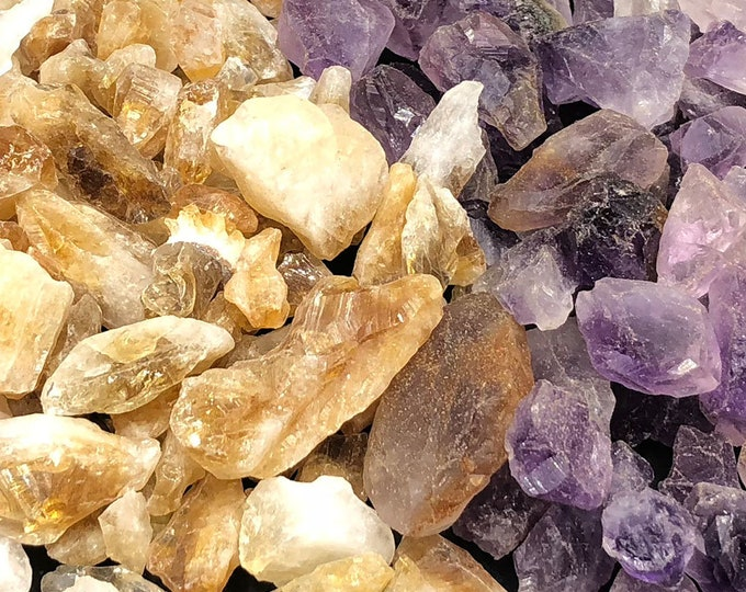COMBO: 1/2 LB Amethyst and 1/2 LB Citrine Points Rough from Brazil