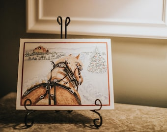 Horse, christmas card, winter, equine,christmas,sleigh ride ,horse and carriage