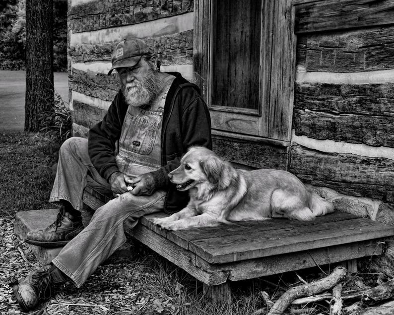 A Man And His Dog >> Photo Of Old Man And His Dog Etsy