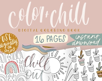 Color And Chill Coloring Book/Digital/Instant Download