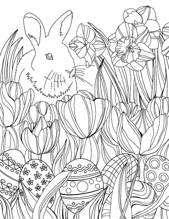 Spring Bunny Coloring Sheet DIGITAL DOWNLOAD ONLY