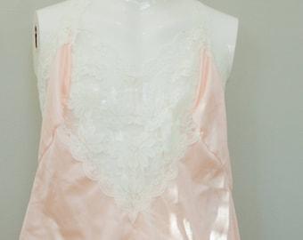 Vintage Lady Cameo Pink Nylon Lace Camisole with lace straps and hem.