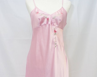 Vintage SECRET TREASURES Nightgown. Pink Satin with embroidered floral detail