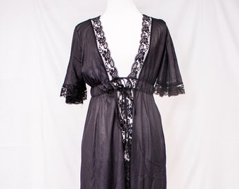 Vintage Glencraft  70's Sheer Black Robe with Lace Trim and elastic Back