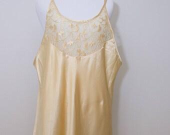 Vintage 1980's Secret Treasures Creamy Gold Night Gown