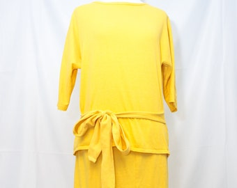 Vintage 1980's Knit Bright Yellow Skirt and Top Set.
