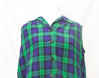 Vintage Plaid M.H. Fine Co 50-60's Sleeveless Cotton Button Down Shirt.