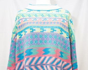 1980's VENZIA Acrylic  Mock turtleneck Sweater with Great Spring colors.