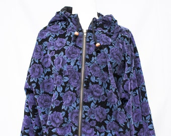Beautiful Corduroy Floral Jacket with Hood