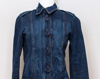 Vintage Button Down Denim Jacket  Epaulets on shoulders.  an'ge Paris
