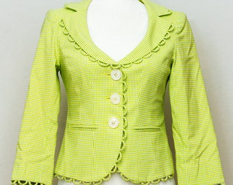 Vintage nanette lepore vintage lime green checked jacket with lime green polka to lining