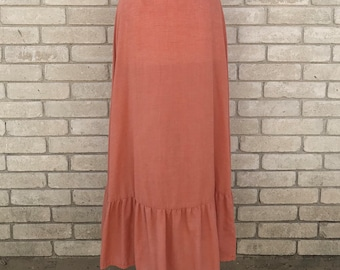 Vintage 70's Salmon Maxi Skirt with Ruffled Bottom