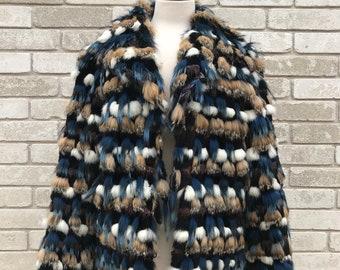 Vintage RARE 70's Dyed Multicolored Rabbit Fur Coat Size Medium