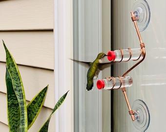 Geometric Window Hummingbird Feeder | Sweet Feeders | Geo Feeder | Copper and Aluminum | Modern | Home Decor | Glass Bottles | Suction Cups