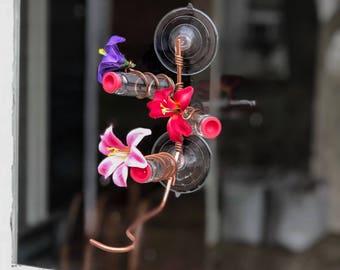 3 Station Window Hummingbird Feeder | Handcrafted Copper Hummingbird Feeder | Multiple Station | Hummingbird Feeders | Dripless Feeder
