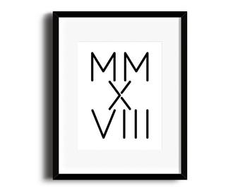 PRINTABLE Roman Numeral Sign / New Year 2018 / 2018 Planner / New Year Print / New Year Decor / Typography Print