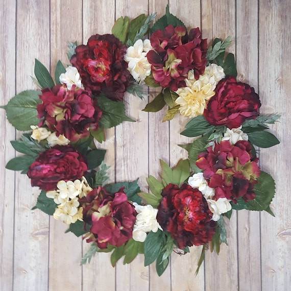Red And Cream Floral Grapevine Wreath For Front Door Deep Red Etsy