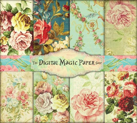 Floral Paper Vintage Roses Vintage Paper Vintage Angels Digital Paper Wooden Paper Junk Journal Paper Victorian Paper