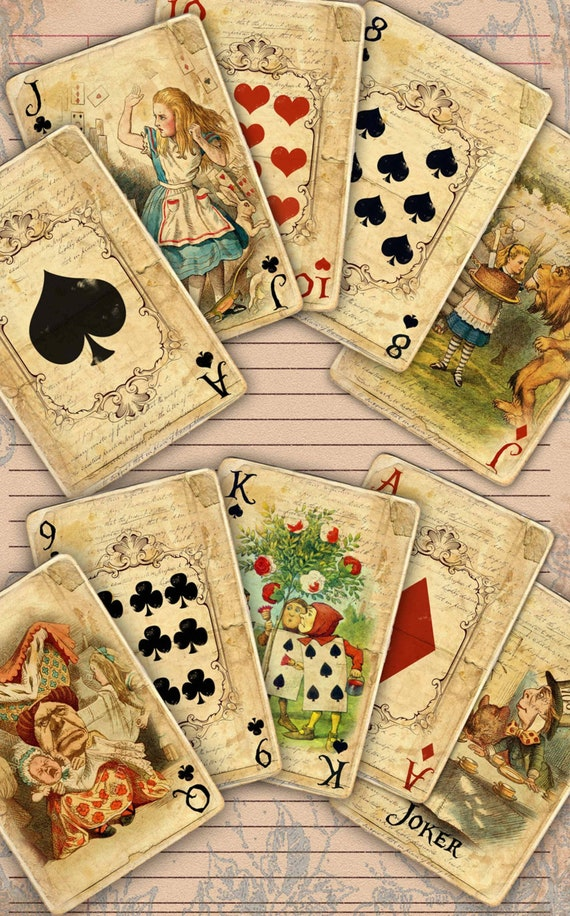 photo about Printable Playing Card Stock known as Printable Alice inside of Wonderland electronic 56 taking part in playing cards, Traditional Alice within Wonderland Tea Social gathering, Alice inside Wonderland electronic playing cards down load