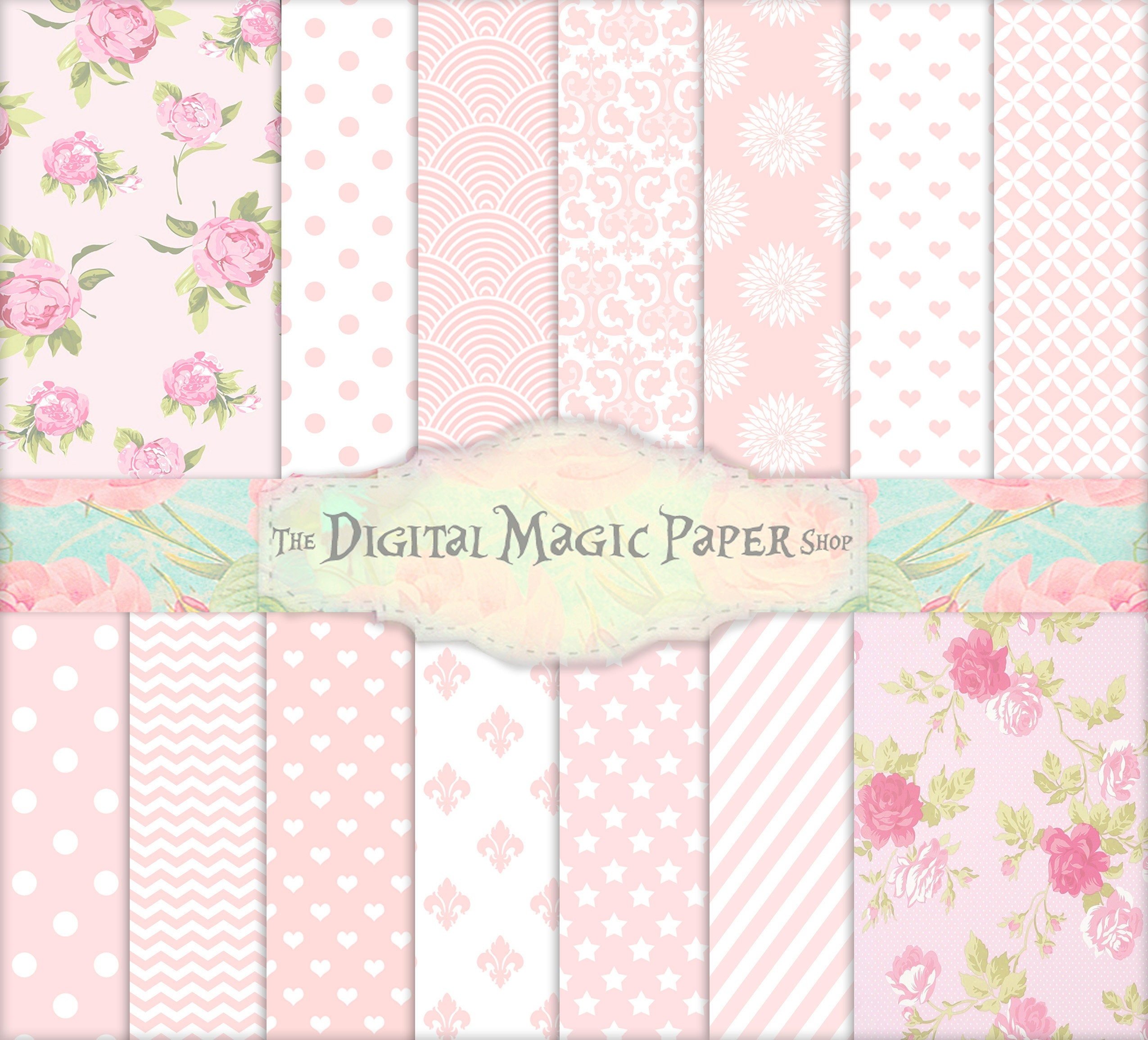 Baby Shower Pink Floral Papers Baby Shower Download Floral Etsy