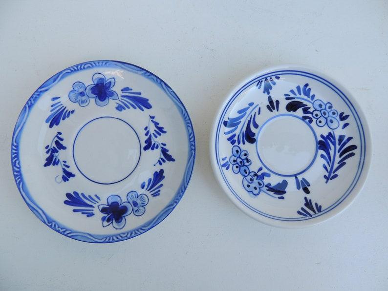 Vintage Delfts BOLS Holland Blue White Teacups Saucers Mug Bottle Salt Pepper Shakers