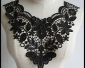 Lace Applique, embroidered bodice lace applique, lace bodice for dress altering,Black lace Collar supplies