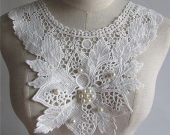 "8.5/"" x 2/"" White Venice Lace Bodice Motif Applique DIY sewing notions craft Patch"