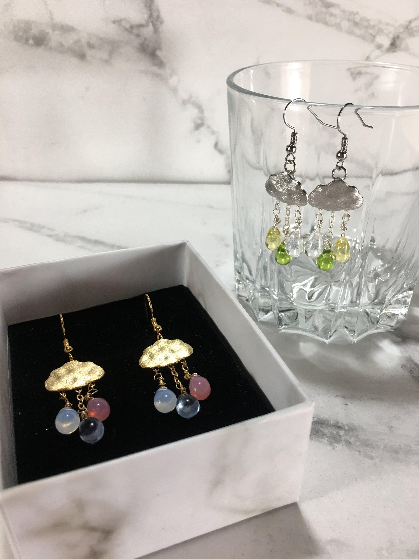 Silver dangle drop earrings with silver cloud charms cloud earrings