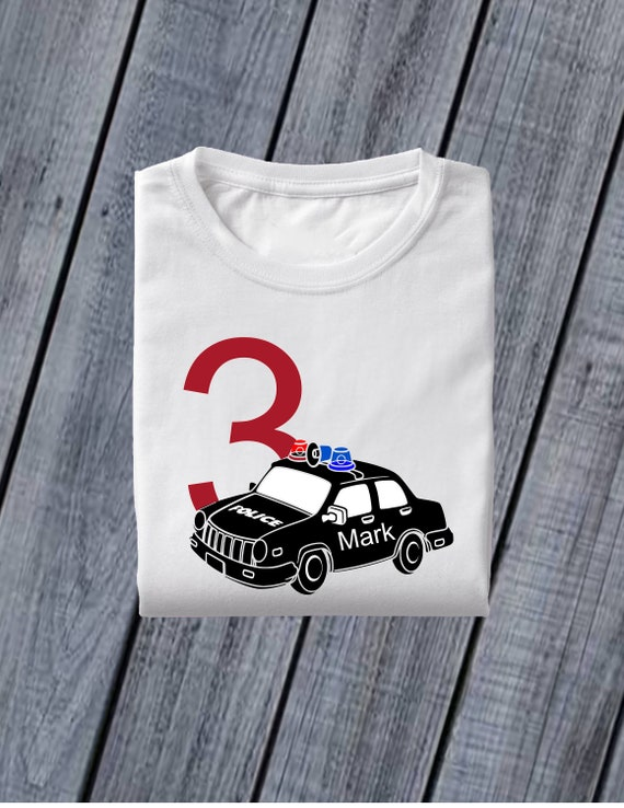 Police Car Personalized T Shirt With Name And Age Gift For A